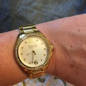 Coach watch with crystal hour markers